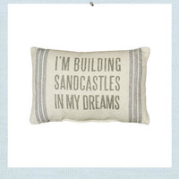 Seaside Inspired | Beach Decor | building sand castles pillow from SeasideInspired.com.
