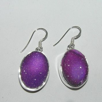 Purple Titanium Druzy Oval Dangle Earrings Sterling Silver French Wires