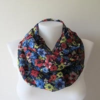 Navy Blue Infinity Scarf, Floral Shawl, Colorful Chiffon Circle Scarf, Women Loop Scarf, Spring Summer Fashion, Women Accessories, For Her