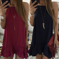 New Summer Sexy Women Sleeveless Party Dress Evening Casual Butterfly Mini Dress