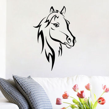 Self Adhesive Home Decor Removable PVC Horse Stickers Outline Farmyard Animal Wall Decals For Bedroom