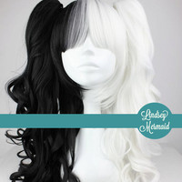 BLACK And WHITE Half and Half Lolita Cosplay Wig