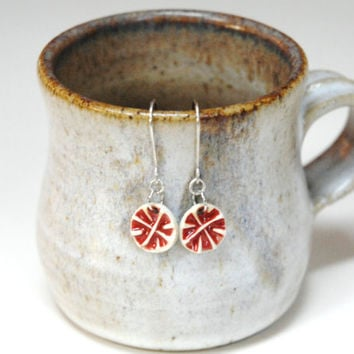 Red dangle earrings,red drop earring,dangle earing, boho earrings,red star earrings,pottery earrings,clay sterling silver,red bohemian beads