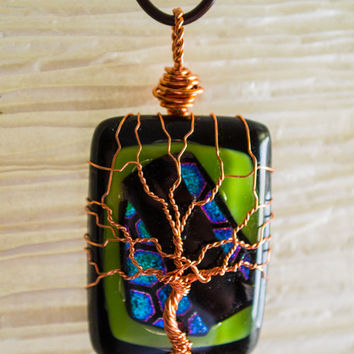 Tree of Life copper wire wrapped Foil Glass pendant
