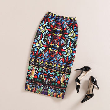 The Art Collection Parisian Knee Length Pencil Skirt