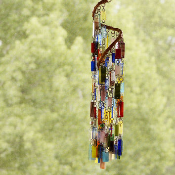 Stained Glass - Colored Glass - Wind Chimes - Sun Catcher - Garden Art - OOAK - Spiral Whirligig
