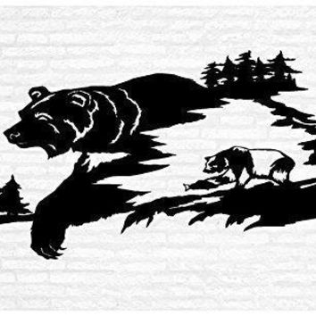 Grizzly Brown Black Bears Man Cave Animal Rustic Cabin Lodge Mountains Hunting Vinyl Wall Art Sticker Decal Graphic Home Decor
