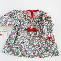 Baby Christmas Dress, Baby Girl Dress, Baby Dress, Chrismas Baby Outift, Long Sleeve Dress, Holiday Dress, Newborn Dress, Size 0-3 mos