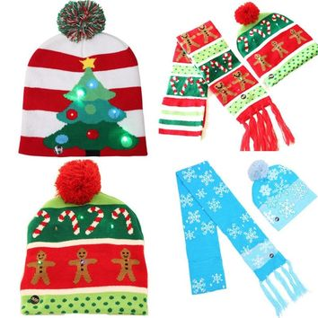 LED Light Beanie Winter Cap Hat Christmas Gingerbread Man Cotton Knitted Hat Wrap Tassel Scarf 2PCS Set
