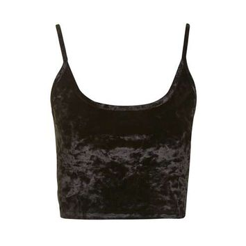 Crushed Velvet Crop Top - Tops - Clothing