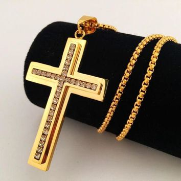 ONETOW Boys & Men Hip-Hop Cross Necklace