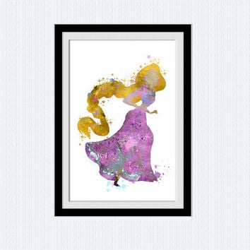 Rapunzel watercolor poster Rapunzel colorful print Disney princess poster Disney print Home decoration Kids room decor Nursery room  W409