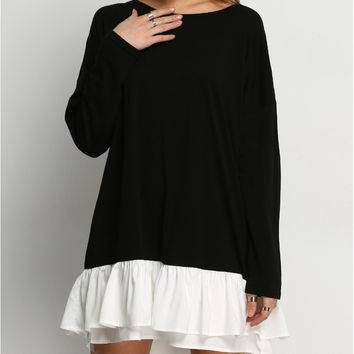 Color Block Long Sleeve Tiered Mini Dress