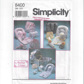 Simplicity 8400 Pattern for Baby Hat, Diaper Cover, Baby Accessories, Diaper Bag, FACTORY FOLDED, UNCUT, Vintage Pattern, By Andrea Schewe