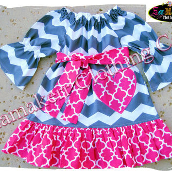 2t / 24 Month Only READY TO SHIP Girl Heart Valentines Day Pink Gray Chevron Peasant Dress Custom Boutique Clothing Toddler 24 Month Size 2t