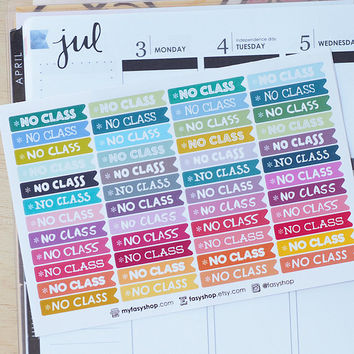 48 NO CLASS Flags -  Sticker Planner Perfect for Erin Condren / MAMBI Happy Planner