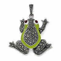 Sterling Silver Marcasite Frog Pendant