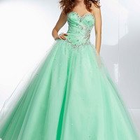 Long Prom Dresses 2015 Beading Sweetheart Neck Sleeveless A Line Lace-up Floor Length Stock Tulle Dress