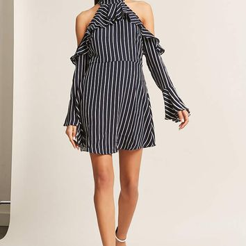 Stripe Ruffle Open-Shoulder Dress