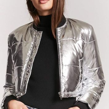 Metallic Puffer Bomber Jacket