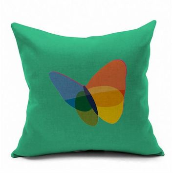 Butterfly Colorful Abstract MSN HOTMAIL Logo Internet Emoji Pillow Massager Decorative Pillows  Cover Euro Home Decor Gift