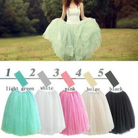 5 Colors Free Size Women Lace Princess Fairy Style 5 layers Voile Tulle Skirt Bouffant Puffy fashion skirt long skirts 312334 = 1945959556