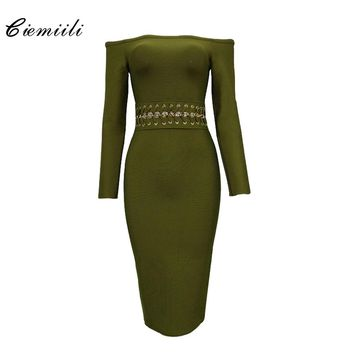 CIEMIILI 2017 Slash Neck Hollow Out Women Bandage Dress Lace-Up Solid Green Black Red Night Club Summer Nylon Sexy Women Dresses