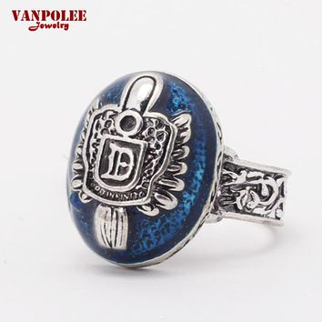 2016 Vintage Vampire Diaries Rings Salvatore Stefan 's Finger Family Crest Ring Lapis Lazuli Ellipse Game Movie Ring RA5014