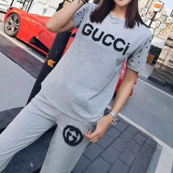 Gucci  Casual  Pattern  Round Neck  Short Sleeve Edgy Fashion Two-Piece Suit Clothes