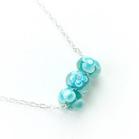 Lampwork Jewelry, Teal Necklace, Glass Flower Pendants, Gift for Mom