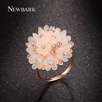 NEWBARK Wedding Bands Rings For Women Lovely Pink Flower Blooming Bridal Engagement Jewelry Fashion Zinc Alloy Plant Shape Ring