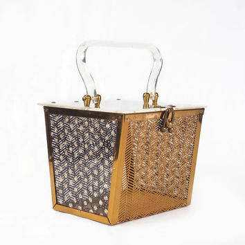 Dorset Rex Herringbone & Lace Box Bag | Vintage Lucite Handbag, Black and Gold Purse, Evening Bag, Rockabilly Purse