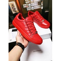 BALENCIAGA 2018 new wild trend men's shoes breathable flat white shoes Red