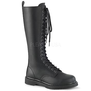 Bolt 400 Goth Buckle Strap Combat Biker Knee Boots Black Matte Men Sizes 4-14