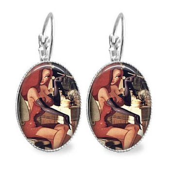 Jessica Sitting At Vanity Oval Earrings