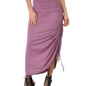 Lyss Loo Tie That Knot Fold Over Mauve Maxi Skirt