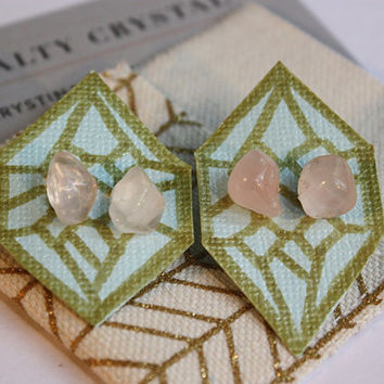 Rose Quartz Crystal Stud Earrings, gift for her under 25, healing crystals and stones, bohemian hippie jewelry