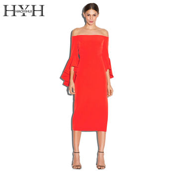 HYH HAOYIHUI Solid Red Sexy Slash Neck Dress Vestidos Casual Slim Ruffles Sleeve Zipper Back Dress Split High Waist Midi Dress