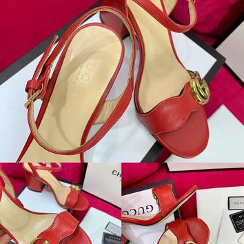 Ready Stock Gucci Red Leather Mid Heel 75mm Double G Sandal