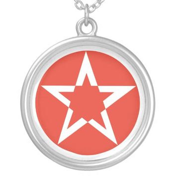 Red Pentacle Star Silver Plated Necklace