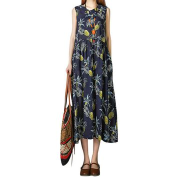 Fashion Summer Pineapple Printed Dress Women Sleeveless V-Neck Pocket Holiday Beach Dress Pleated Swing Mid-calf Dresses Vestido