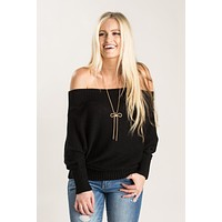 Roxanne Black Off the Shoulder Sweater