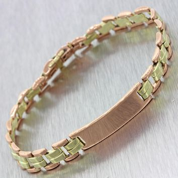1940s Antique Art Deco 14k Solid Yellow Rose Gold Cartier Name Plate Bracelet