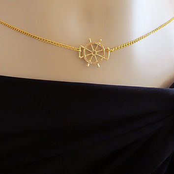 Gold Rudder Charms, body chain, bikini jewelry, sexy,  beach, summer, Statement Necklaces, women accesories, gift ideas, necklace, jewelry