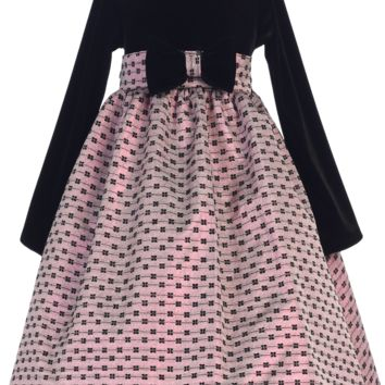 Black Velvet Girls Holiday Dress w. Pink Bow Design Jacquard Skirt 6M-12