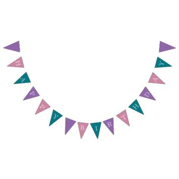 Happy Birthday Purple Pink Teal Bunting Bunting Flags