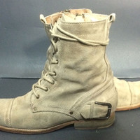 AllSaints Beige Suede Leather Combat Military Boots Men's Size 41 Size 8