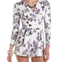 Floral Print Long Sleeve Romper by Charlotte Russe - Black Combo