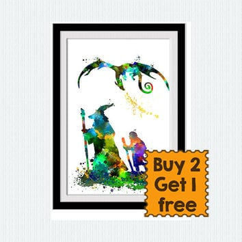 Bilbo Baggins print, Gandalf poster, hobbit, watercolor, dragon, lotr, colorful, silhouette, fantasy art, nursery, gift, kids room, W80