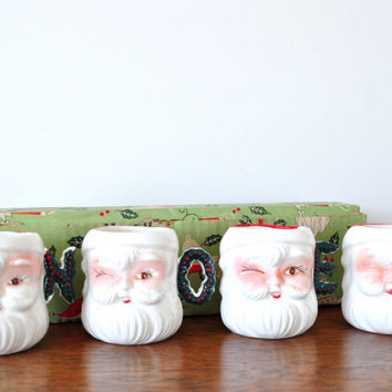 Vintage Winking Santa Mugs with Noel Handles, Christmas Mugs, Holiday Decor, Egg Nog Cups